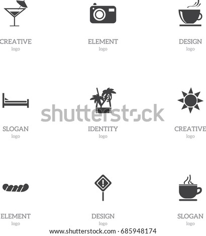 set of 9 editable journey icons