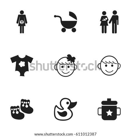 set of 9 editable kid icons