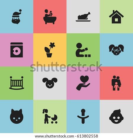 set of 16 editable kin icons