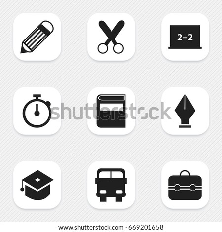 Set Of 9 Editable Knowledge Icons. Includes Symbols Such As Cutting, Trunk, Literature And More. Can Be Used For Web, Mobile, UI And Infographic Design.