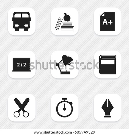 Set Of 9 Editable Knowledge Icons. Includes Symbols Such As Lighting, Page, Writing Board And More. Can Be Used For Web, Mobile, UI And Infographic Design.