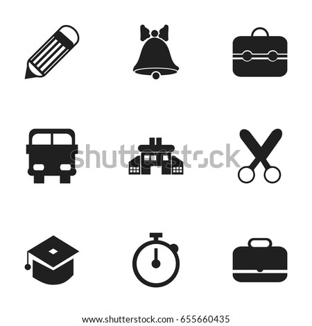 Set Of 9 Editable Knowledge Icons. Includes Symbols Such As Timer, Jingle, Cutting And More. Can Be Used For Web, Mobile, UI And Infographic Design.