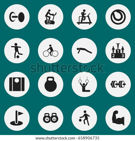 Set Of 16 Editable Lifestyle Icons. Includes Symbols Such As Barbell, Flag, Physical Education And More. Can Be Used For Web, Mobile, UI And Infographic Design.