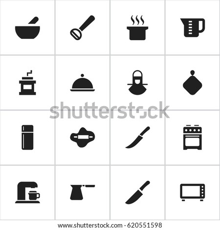 Set Of 16 Editable Meal Icons. Includes Symbols Such As Mensural, Mocha Grinder, Rocker Blade And More. Can Be Used For Web, Mobile, UI And Infographic Design.
