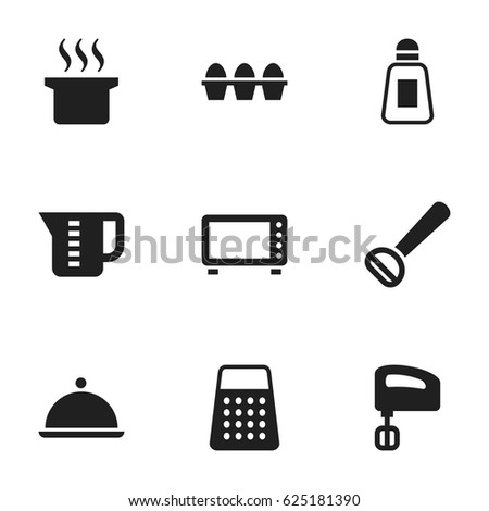 Set Of 9 Editable Meal Icons. Includes Symbols Such As Mensural, Soup Pot, Agitator And More. Can Be Used For Web, Mobile, UI And Infographic Design.