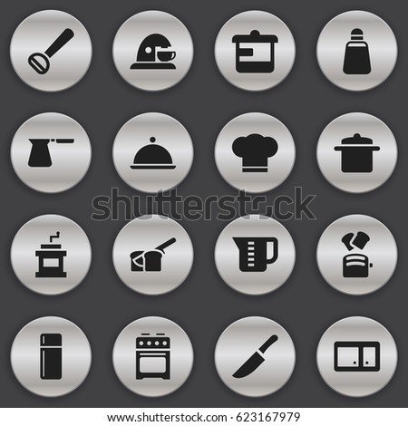 Set Of 16 Editable Meal Icons. Includes Symbols Such As Mensural, Stove, Salver And More. Can Be Used For Web, Mobile, UI And Infographic Design.