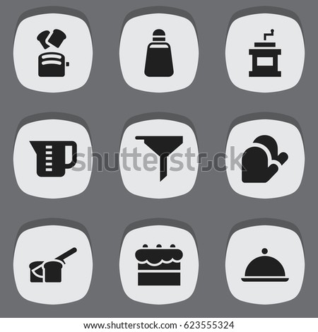 Set Of 9 Editable Meal Icons. Includes Symbols Such As Paprika, Mensural, Kitchen Glove And More. Can Be Used For Web, Mobile, UI And Infographic Design.