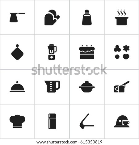 Set Of 16 Editable Meal Icons. Includes Symbols Such As Soup Pot, Salver, Mensural And More. Can Be Used For Web, Mobile, UI And Infographic Design.