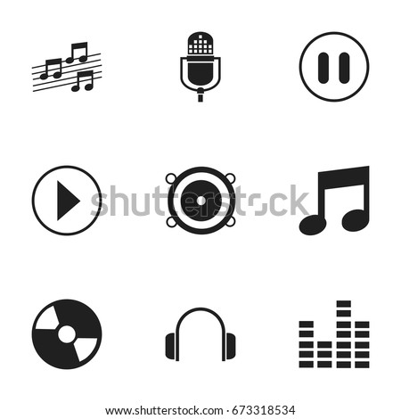 Set Of 9 Editable Media Icons. Includes Symbols Such As Musical Sign, Music, Bass Speakers And More. Can Be Used For Web, Mobile, UI And Infographic Design.