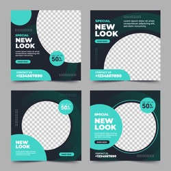 Set of Editable minimal square banner template. Black and green background color with stripe line shape. Suitable for social media post and web internet ads. Vector illustration with photo college
