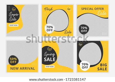 Set of Editable minimal square banner template. Black and yellow background color with shape. Suitable for social media post and web internet ads.