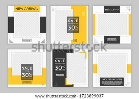 Set of Editable minimal square banner template. Black and yellow background color with shape. Suitable for social media post and web ads.