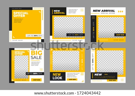 Set of Editable minimal square banner template. Black and yellow background color with stripe line shape. Suitable for social media post and web internet ads. Vector illustration with photo college.