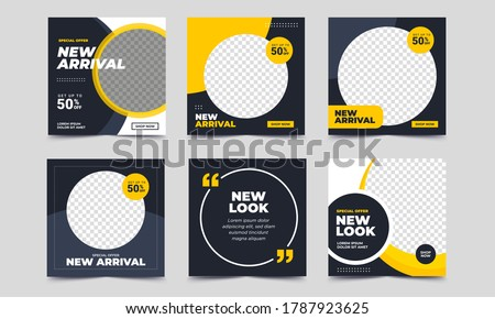 Set of Editable minimal square banner template. Black and yellow background color with stripe line shape. Suitable for social media post and web internet ads. Vector illustration with photo college