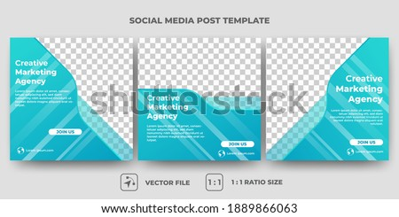 Set of Editable minimal square banner template. Blue background color with abstract shape. Creative business banner design with photo collage. Usable for social media, banner, and web internet ads