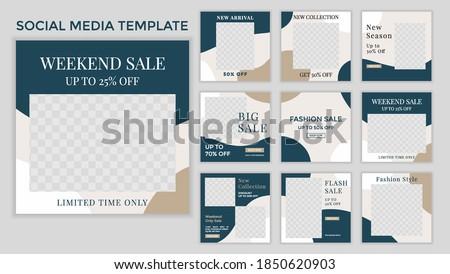 Set of Editable minimal square banner template. Suitable for social media post and web ads.
