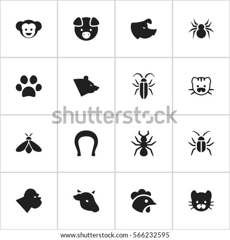 Set Of 16 Editable Nature Icons. Includes Symbols Such As Sow, Honey, Chimpanzee And More. Can Be Used For Web, Mobile, UI And Infographic Design.