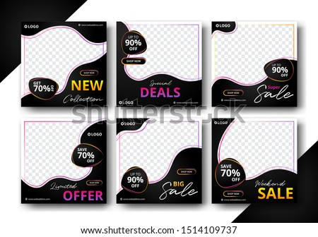 Set of editable Post Template Social Media Banners and feed post, sale promotion and digital marketing, Trendy background design for instagram ads. eps10 vector.