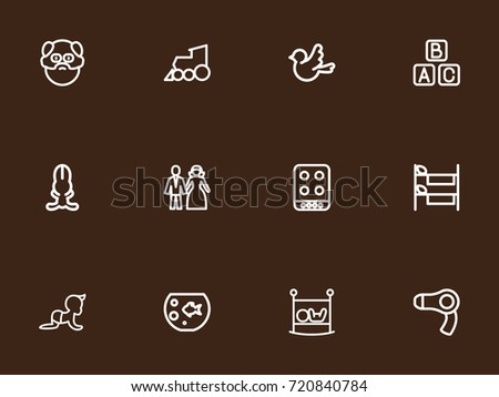Set Of 12 Editable Relatives Outline Icons. Includes Symbols Such As Fish Tank, Cooker, Locomotive And More. Can Be Used For Web, Mobile, UI And Infographic Design. Stock fotó ©