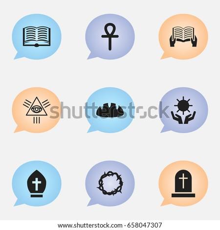 set of 9 editable religion