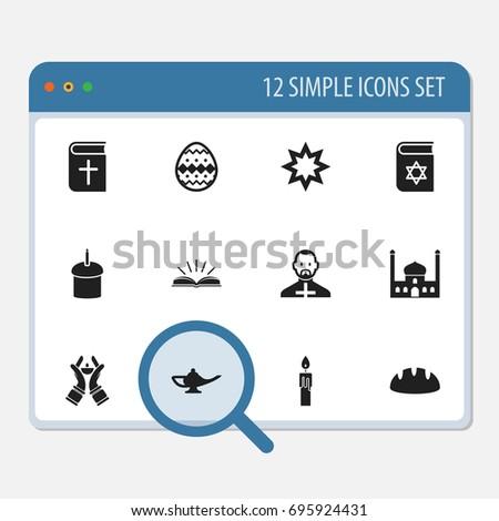 set of 12 editable religion