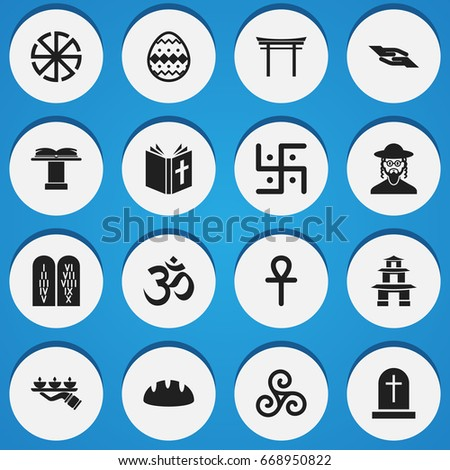 set of 16 editable religion