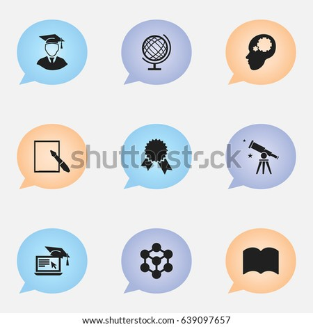 set of 9 editable science icons