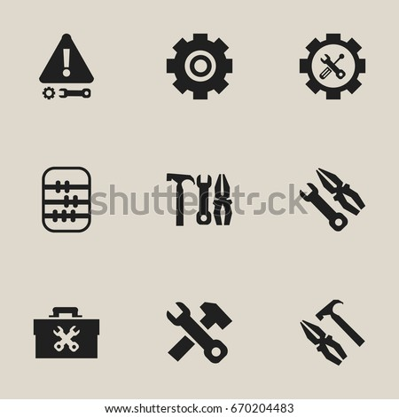 Set Of 9 Editable Service Icons. Includes Symbols Such As Caution, Arithmetic, Settings And More. Can Be Used For Web, Mobile, UI And Infographic Design.