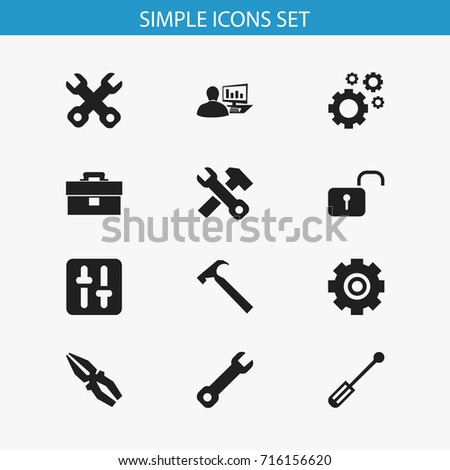 Set Of 12 Editable Service Icons. Includes Symbols Such As Screwdriver, Spanner, Computer Statistics And More. Can Be Used For Web, Mobile, UI And Infographic Design.