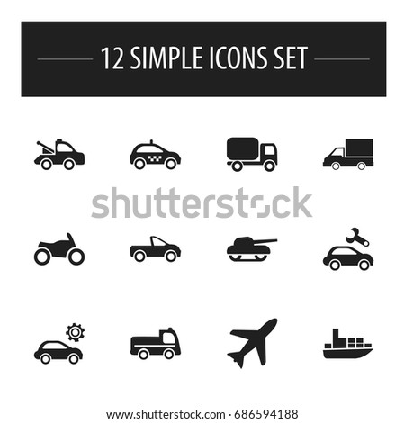 Set Of 12 Editable Shipment Icons. Includes Symbols Such As Motorbike, Service Car, Drophead Coupe And More. Can Be Used For Web, Mobile, UI And Infographic Design.