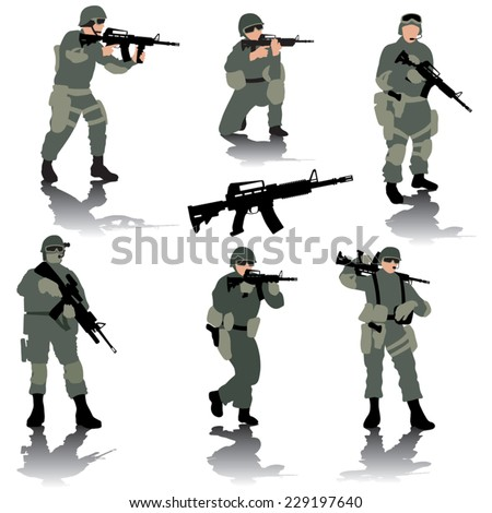 set of editable silhouettes of