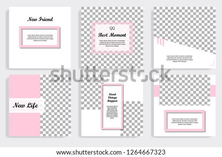 Set of editable social media post template in white and pink background #1264667323