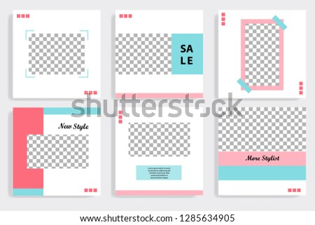 Set of editable social media post template in white, red, pink, turquoise blue background. Vector. #1285634905