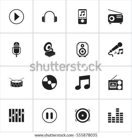 Set Of 16 Editable Song Icons. Includes Symbols Such As Disc, Cassette Player, Bar Wave And More. Can Be Used For Web, Mobile, UI And Infographic Design.