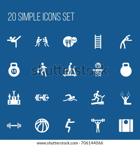 Set Of 20 Editable Sport Icons. Includes Symbols Such As Balance, Strength, Bodybuilding And More. Can Be Used For Web, Mobile, UI And Infographic Design.