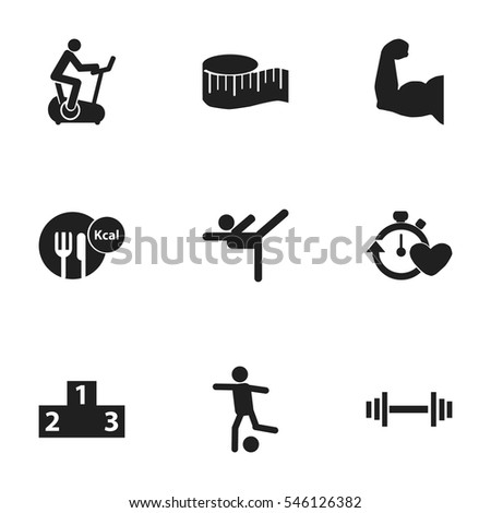 Set Of 9 Editable Sport Icons. Includes Symbols Such As Biceps, Football, Training Bike And More. Can Be Used For Web, Mobile, UI And Infographic Design.