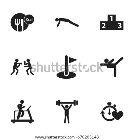 Set Of 9 Editable Sport Icons. Includes Symbols Such As Healthy Food, Physical Education, Bodybuilding And More. Can Be Used For Web, Mobile, UI And Infographic Design.