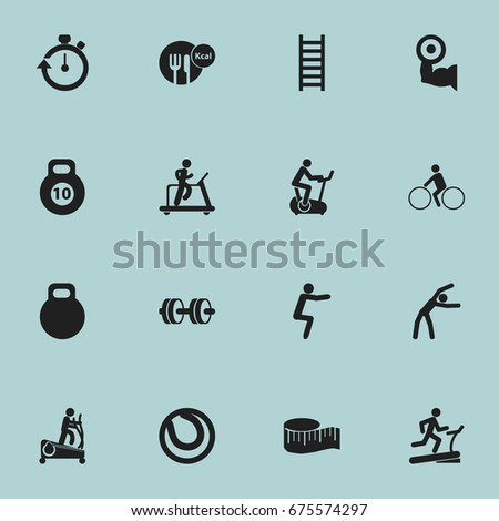 Set Of 16 Editable Sport Icons. Includes Symbols Such As Racetrack Training, Training Bicycle, Jogging And More. Can Be Used For Web, Mobile, UI And Infographic Design.