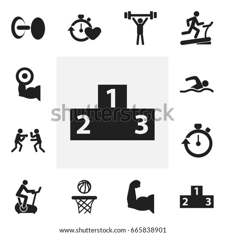 Set Of 12 Editable Sport Icons. Includes Symbols Such As Training Bicycle, Biceps, Heavy Training And More. Can Be Used For Web, Mobile, UI And Infographic Design.