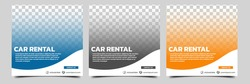 Set of editable square banner template. Car rental banner with black, orange and blue color background. Flat design vector with photo collage. Usable for social media, story and web internet ads.