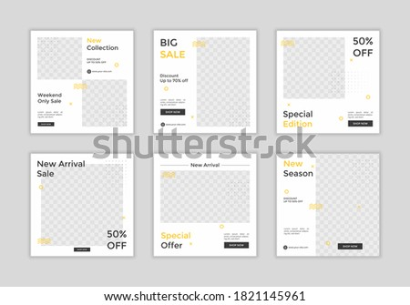 Set of Editable square banner template for ad. White and yellow background color. Suitable for social media post for promotion.