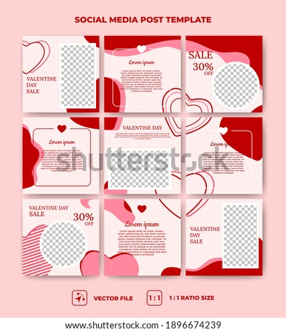 Set of editable square puzzle banner template. Valentine's day social media post with love decoration. Suitable for social media, banners, and web ads. Vector design with a photo collage