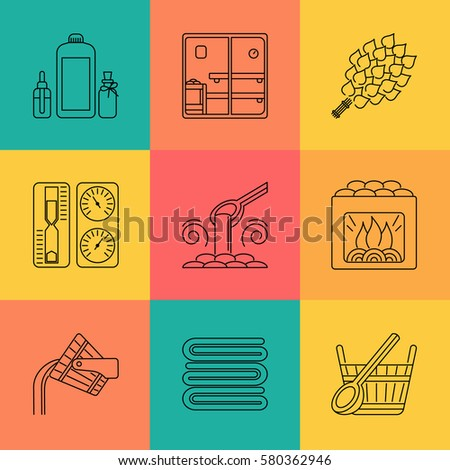 Set of Editable Stroke Vector Sauna Icons made in Modern Line Style. Easy to Use. Perfect for Your Project.