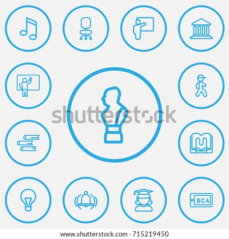 Set Of 13 Editable Teach Outline Icons. Includes Symbols Such As Bust, Ring, Lesson And More. Can Be Used For Web, Mobile, UI And Infographic Design.