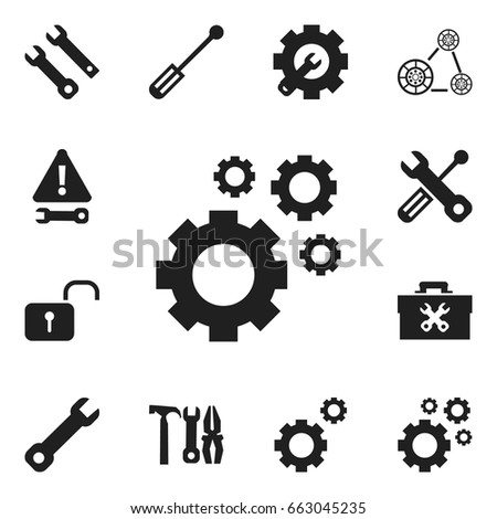 Set Of 12 Editable Tool Icons. Includes Symbols Such As Cogwheels, Service, Build Equipment And More. Can Be Used For Web, Mobile, UI And Infographic Design.