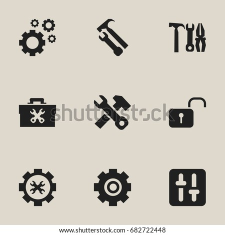 Set Of 9 Editable Tool Icons. Includes Symbols Such As Options, Cogwheels, Opened Padlock And More. Can Be Used For Web, Mobile, UI And Infographic Design.