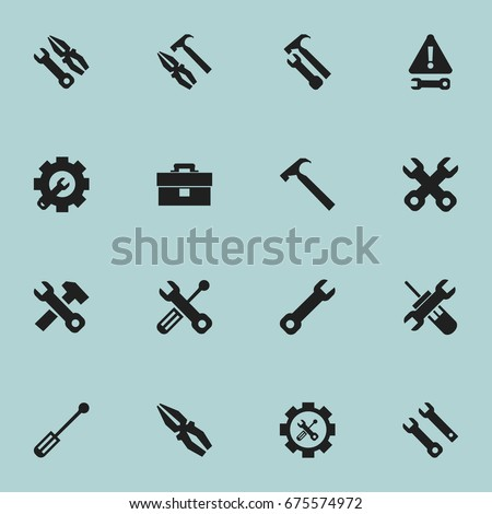 Set Of 16 Editable Tool Icons. Includes Symbols Such As Utility, Warning, Pliers Hammer And More. Can Be Used For Web, Mobile, UI And Infographic Design.