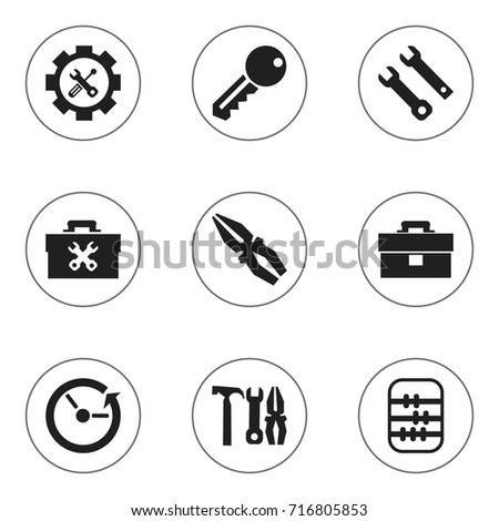 Set Of 9 Editable Toolkit Icons. Includes Symbols Such As Access, Time, Portfolio And More. Can Be Used For Web, Mobile, UI And Infographic Design.