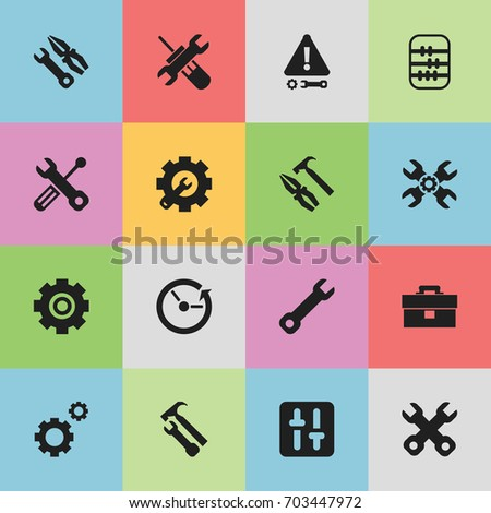Set Of 16 Editable Toolkit Icons. Includes Symbols Such As Pliers Hammer, Wrench Hammer, Wrench And More. Can Be Used For Web, Mobile, UI And Infographic Design.