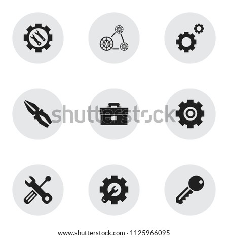 Set of 9 editable toolkit icons. Includes symbols such as pliers, key, gear fix and more. Can be used for web, mobile, UI and infographic design.